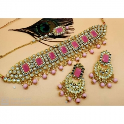 Kundan Pink Pearl Choker Necklace Set