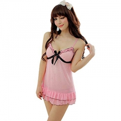 Transparent Net Bow Above Knee Babydoll With G-String