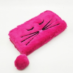 Faux Fur Cat  Design Zipper Clutch Wallet