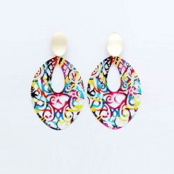 Multicolored Hand Painted Metal Hoop Earrings