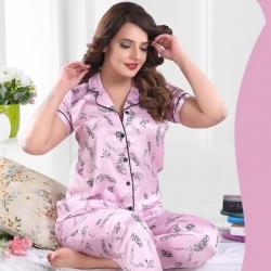 Printed Top & Pajama Satin Night Suit Sleepwear
