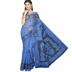Pavecha Women's Mangalagiri Poly Cotton Saree With Blouse