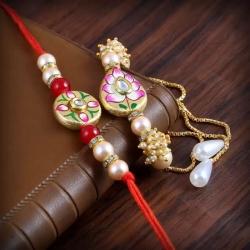 Metal Stone Work Bhaiya Bhabhi Designer Bracelet Rakhi Set
