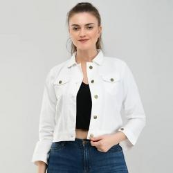Solid Denim White Jacket