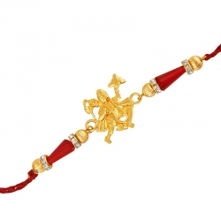 Golden Plated Crystal Spiritual Hanuman Rakhi