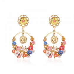 Style Flower Circle Beautiful Heavy Korean Earrings