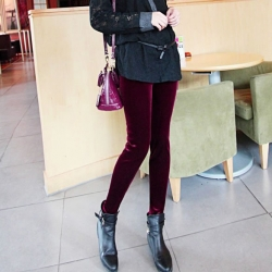 Knee Length Velvet Slim Leggings