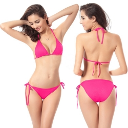 Solid Triangle Strappy lingerie Set