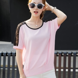 Summer Batwing Sleeve Lace Chiffon Top