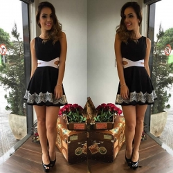 Sleeveless Waist with Holes Lace Mini Dress