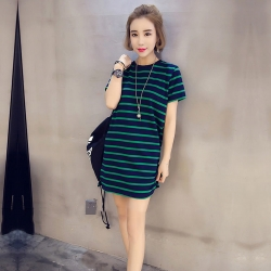 Fashionable Loose Stripe Short Sleeve Dress