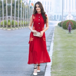 Red Crisscross Georgette Embroidered Designer Kurti