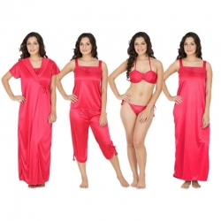Littledesire Lace Red 6 pcs Satin Nightwear