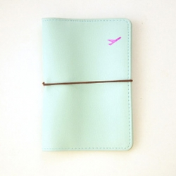 Light Blue Leather Passport Cover Wallet