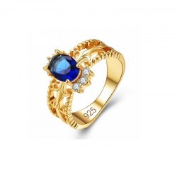 Littledesire Anel Sea Royal Blue CZ Gold Plated 925 Ring