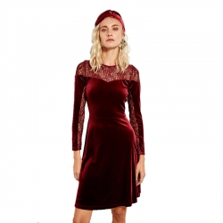 Littledesire Bordeaux Lace Velvet Evening Mini Dress