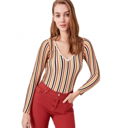 Littledesire Striped V-Neck Knitted Sweater