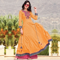 Littledesire Designer Printed With Embroidered  Long Kurta