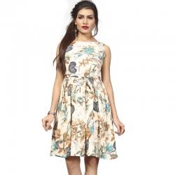 Littledesire Boat Neck Floral Print Crepe Dress