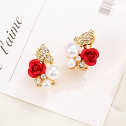 Littledesire Red Rose Imitation Pearl Rhinestone Stud Earrings