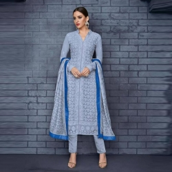 Embroidered Chikankari Straight Blue Kurta & Bottom With Dupatta