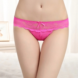 Littledesire Bow Floral Lace Transparent Panty