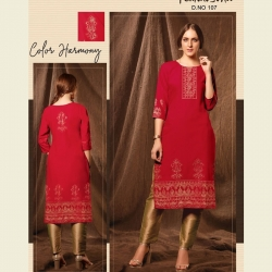 Littledesire Round Neck Foil Print Red Kurta With Pant