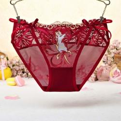 Lace Flower Bow Transparent Women Panties