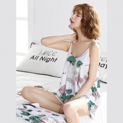 Printed Cotton Lycra Cami Top & Shorts Pajamas Set