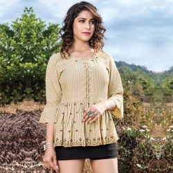 Trendy Floral Embroidered Short Kurti Top