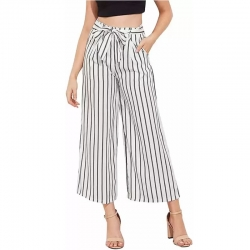 Black and White Belted Striped Palazzo Pants