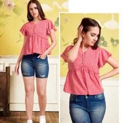 V- Neck Print Crop Pink Top