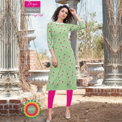 Pink Print Boat Neck Straight Green Kurta