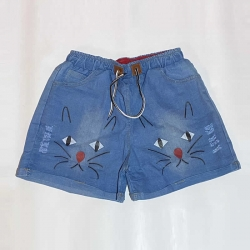 Cartoon Print Elastic Waist Denim Short for Girls