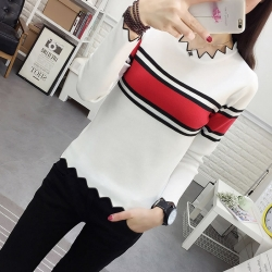 Fashion Knitted Long Sleeve Striped Sweater