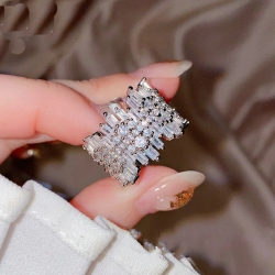 Round Square Micro Pave Cubic Zirconia Ring