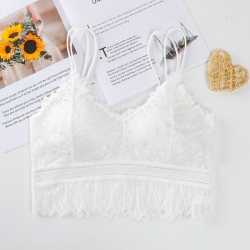 Embroidered Lace Design Full Padded Crop Bralette Top