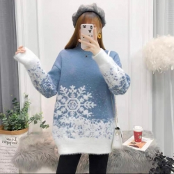 Round Neck Christmas Print Pullover Sweater