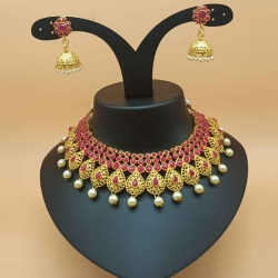 Stylish Pink & Green Stone Studded Choker Pearl Necklace Set