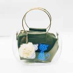 Cat Print Pom-Pom Fur Ball Transparent Shoulder Sling Bag