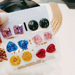Sequins Glitter Glass Stud Earrings 6 pcs Set