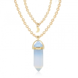 Short Bullet Natural Crystal Stone Pendant Clavicle Necklace