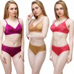 Bridal Premium Satin Embroidered Bra Panty Lingerie Set - 3 Set
