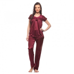 Littledesire Satin Lace Plain Nightwear Suit