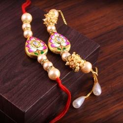 Metal Kundan Stone Bhaiya Bhabhi Designer Bracelet Rakhi Set - 2 pcs
