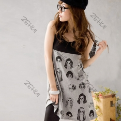 Head Print Loose Long Top