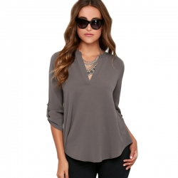 Chiffon V-Neck Long Sleeve Summer Casual Shirt