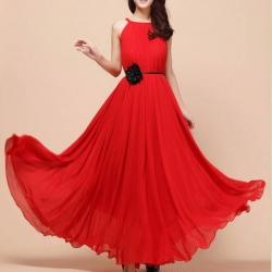 Cute Red Spaghetti Strap Solid Below Knee Maxi Dress
