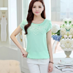 Summer Short Sleeve Casual Lace Chiffon Tops