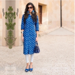 Lapis Blue Printed Cotton Designer Kurta